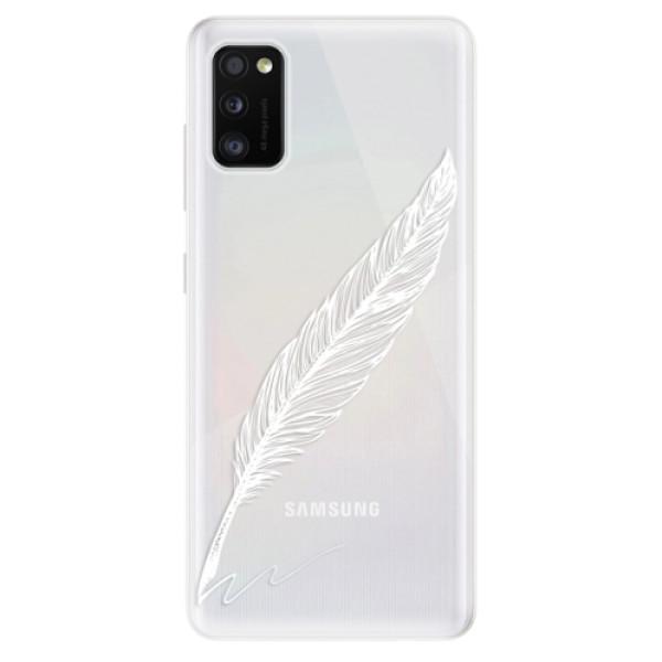 Odolné silikonové pouzdro iSaprio - Writing By Feather - white - Samsung Galaxy A41