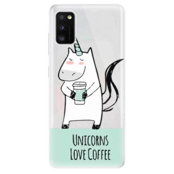 Odolné silikonové pouzdro iSaprio - Unicorns Love Coffee - Samsung Galaxy A41