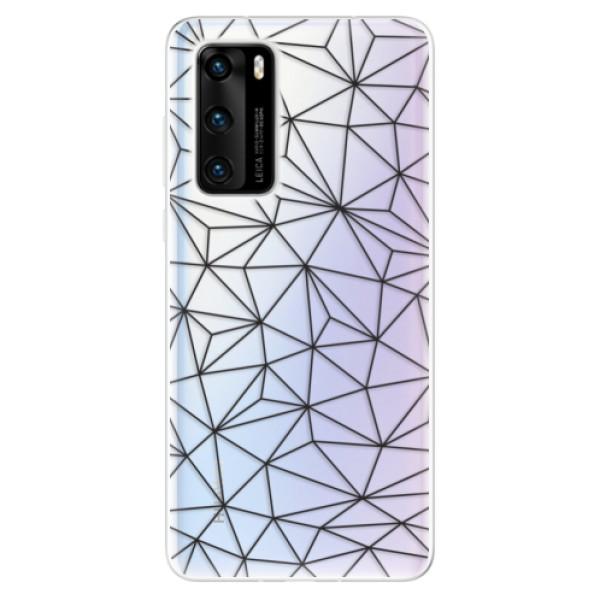 Odolné silikonové pouzdro iSaprio - Abstract Triangles 03 - black - Huawei P40