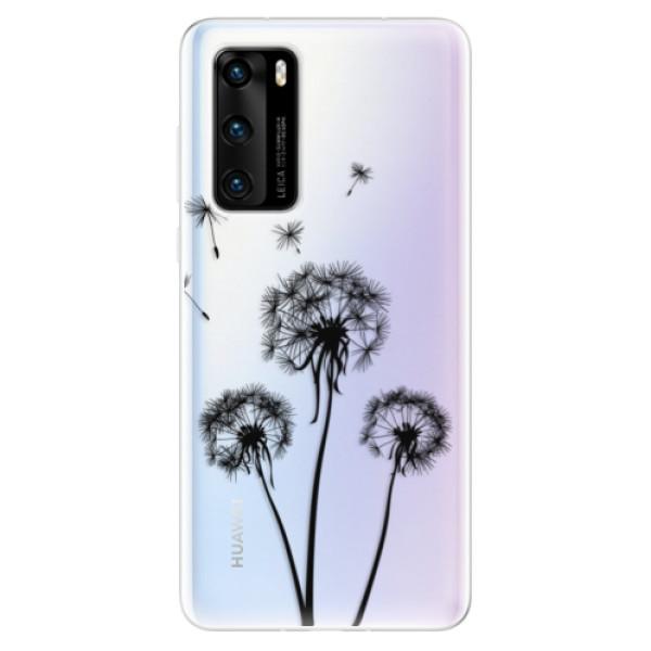 Odolné silikonové pouzdro iSaprio - Three Dandelions - black - Huawei P40