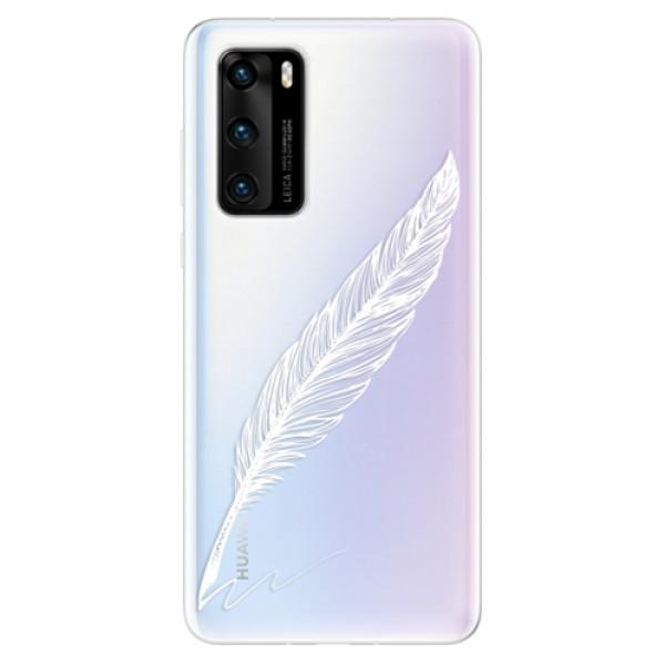 Odolné silikonové pouzdro iSaprio - Writing By Feather - white - Huawei P40
