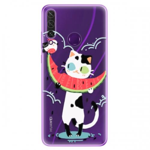 Odolné silikonové pouzdro iSaprio - Cat with melon - Huawei Y6p