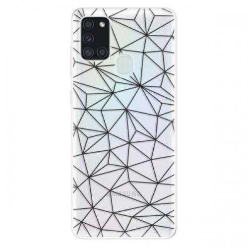 Odolné silikonové pouzdro iSaprio - Abstract Triangles 03 - black - Samsung Galaxy A21s