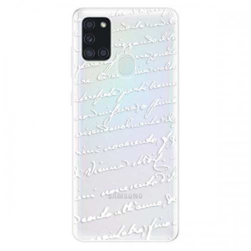 Odolné silikonové pouzdro iSaprio - Handwriting 01 - white - Samsung Galaxy A21s