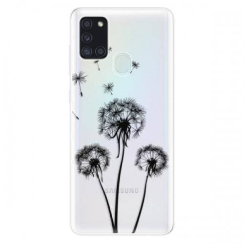 Odolné silikonové pouzdro iSaprio - Three Dandelions - black - Samsung Galaxy A21s