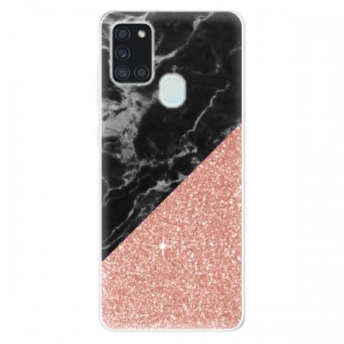 Odolné silikonové pouzdro iSaprio - Rose and Black Marble - Samsung Galaxy A21s