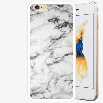 Plastový kryt iSaprio - White Marble 01 - iPhone 6/6S - Gold