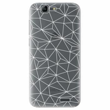 Plastové pouzdro iSaprio - Abstract Triangles 03 - white - Huawei Ascend G7