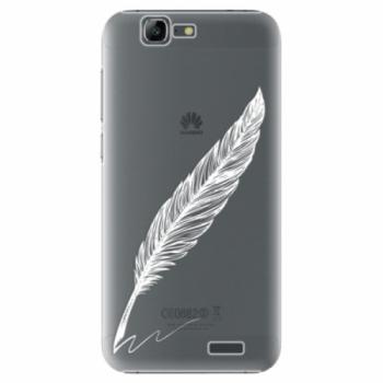 Plastové pouzdro iSaprio - Writing By Feather - white - Huawei Ascend G7