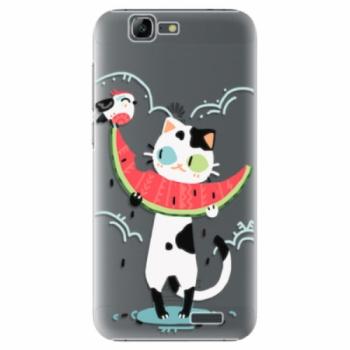 Plastové pouzdro iSaprio - Cat with melon - Huawei Ascend G7