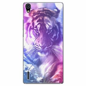 Plastové pouzdro iSaprio - Purple Tiger - Huawei Ascend P7