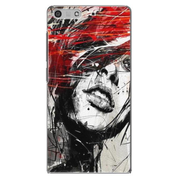 Plastové pouzdro iSaprio - Sketch Face - Huawei Ascend P7 Mini