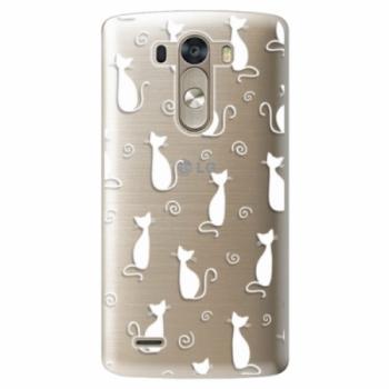 Plastové pouzdro iSaprio - Cat pattern 05 - white - LG G3 (D855)
