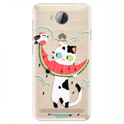 Plastové pouzdro iSaprio - Cat with melon - Huawei Y3 II
