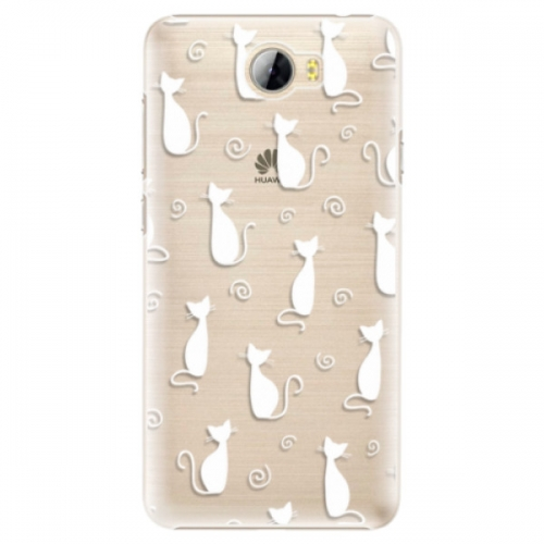 Plastové pouzdro iSaprio - Cat pattern 05 - white - Huawei Y5 II / Y6 II Compact
