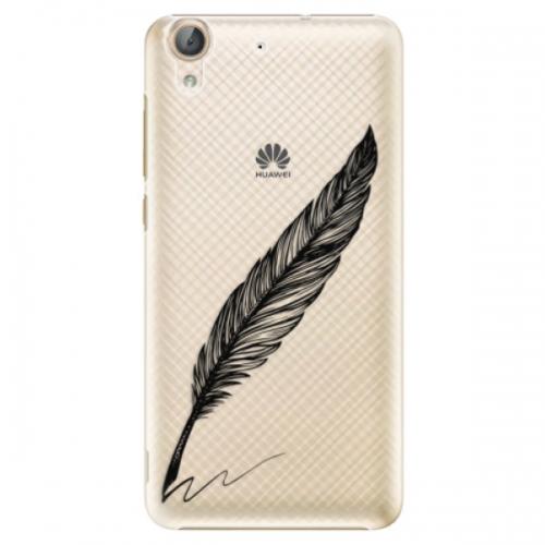 Plastové pouzdro iSaprio - Writing By Feather - black - Huawei Y6 II