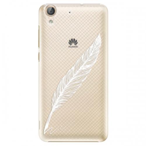 Plastové pouzdro iSaprio - Writing By Feather - white - Huawei Y6 II