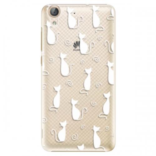 Plastové pouzdro iSaprio - Cat pattern 05 - white - Huawei Y6 II