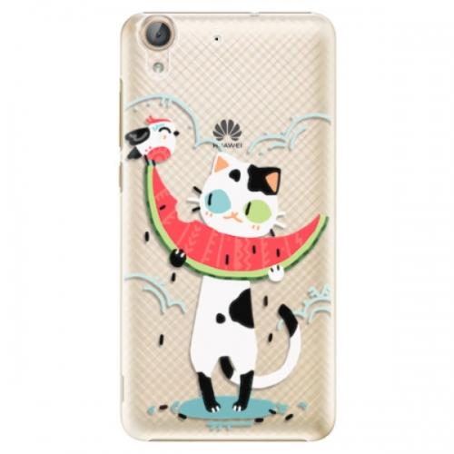 Plastové pouzdro iSaprio - Cat with melon - Huawei Y6 II