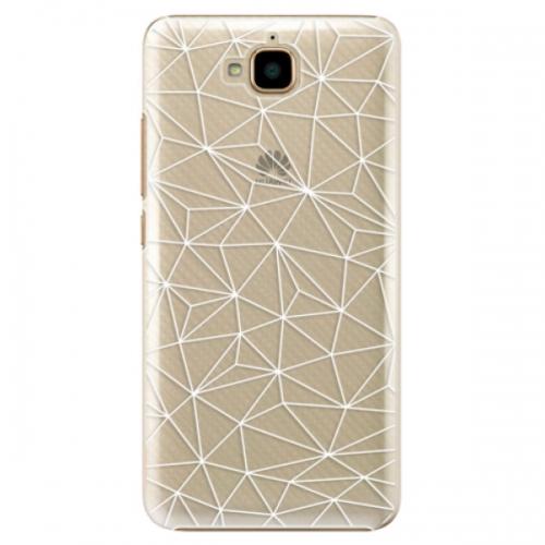 Plastové pouzdro iSaprio - Abstract Triangles 03 - white - Huawei Y6 Pro