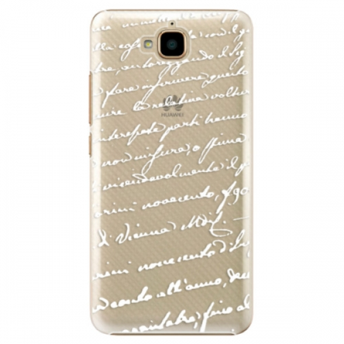 Plastové pouzdro iSaprio - Handwriting 01 - white - Huawei Y6 Pro