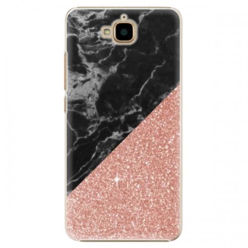 Plastové pouzdro iSaprio - Rose and Black Marble - Huawei Y6 Pro