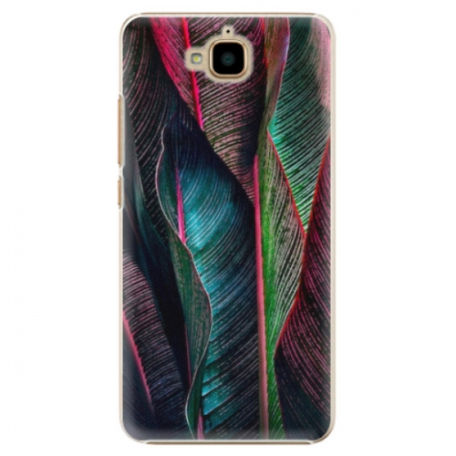 Plastové pouzdro iSaprio - Black Leaves - Huawei Y6 Pro