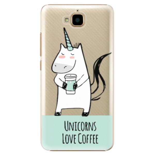 Plastové pouzdro iSaprio - Unicorns Love Coffee - Huawei Y6 Pro