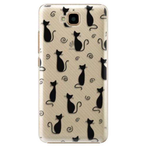 Plastové pouzdro iSaprio - Cat pattern 05 - black - Huawei Y6 Pro