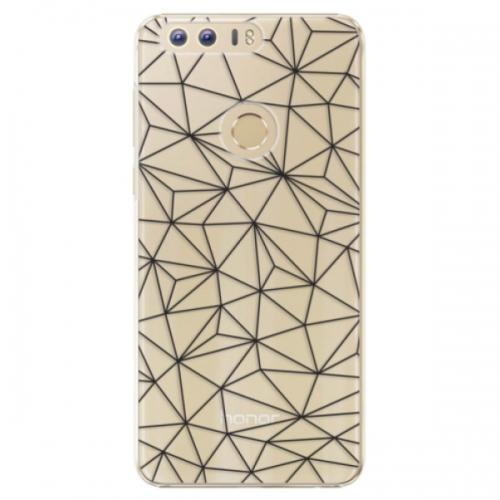 Plastové pouzdro iSaprio - Abstract Triangles 03 - black - Huawei Honor 8
