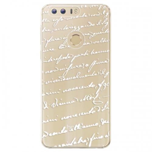 Plastové pouzdro iSaprio - Handwriting 01 - white - Huawei Honor 8