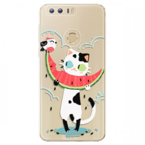 Plastové pouzdro iSaprio - Cat with melon - Huawei Honor 8