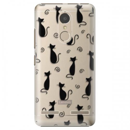 Plastové pouzdro iSaprio - Cat pattern 05 - black - Lenovo K6