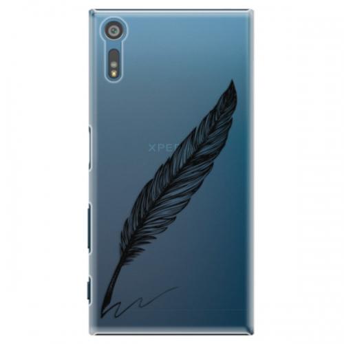 Plastové pouzdro iSaprio - Writing By Feather - black - Sony Xperia XZ