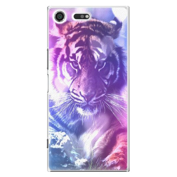 Plastové pouzdro iSaprio - Purple Tiger - Sony Xperia XZ Premium