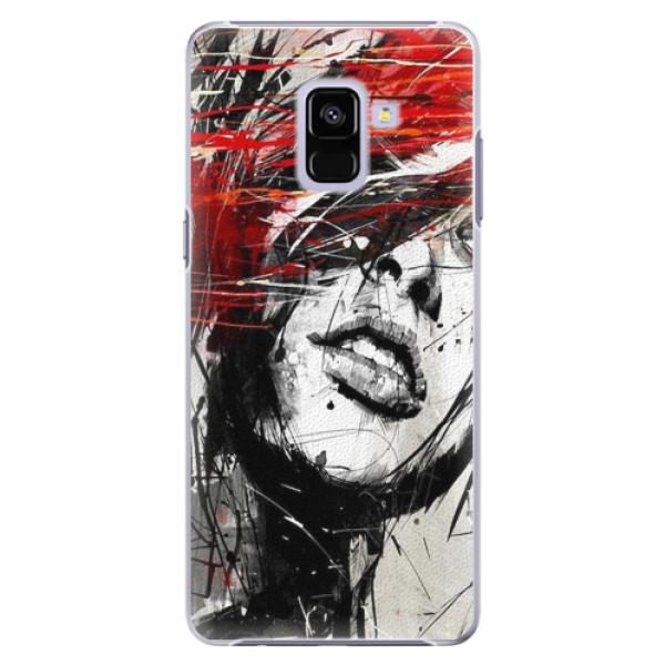 Plastové pouzdro iSaprio - Sketch Face - Samsung Galaxy A8+