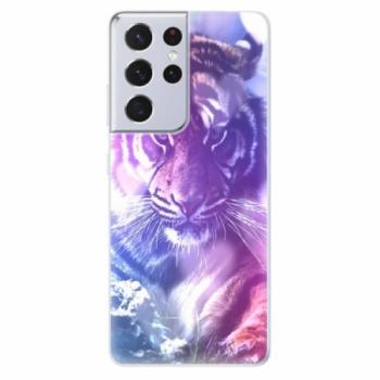 Odolné silikonové pouzdro iSaprio - Purple Tiger - Samsung Galaxy S21 Ultra