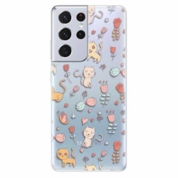 Odolné silikonové pouzdro iSaprio - Cat pattern 02 - Samsung Galaxy S21 Ultra
