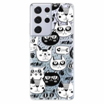Odolné silikonové pouzdro iSaprio - Cat pattern 03 - Samsung Galaxy S21 Ultra