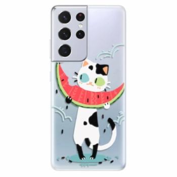 Odolné silikonové pouzdro iSaprio - Cat with melon - Samsung Galaxy S21 Ultra