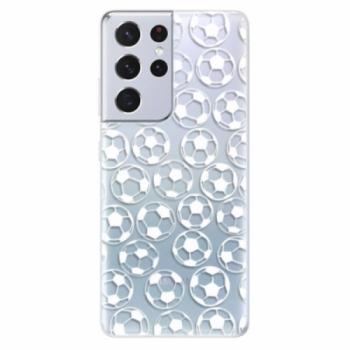 Odolné silikonové pouzdro iSaprio - Football pattern - white - Samsung Galaxy S21 Ultra
