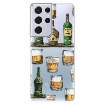 Odolné silikonové pouzdro iSaprio - Whisky pattern - Samsung Galaxy S21 Ultra