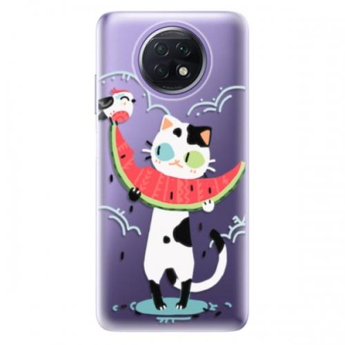 Odolné silikonové pouzdro iSaprio - Cat with melon - Xiaomi Redmi Note 9T