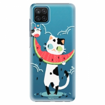 Plastové pouzdro iSaprio - Cat with melon - Samsung Galaxy A12