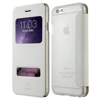 Elegantní obal / pouzdro Baseus Leather case pro iPhone 6 Plus bílý